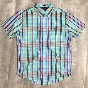 U.S. POLO ASSN. Men's Short Sleeve Button Down (M)